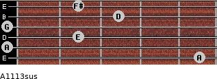 A11/13sus for guitar on frets 5, 0, 2, 0, 3, 2