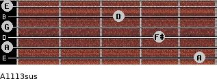 A11/13sus for guitar on frets 5, 0, 4, 0, 3, 0