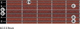 A11/13sus for guitar on frets 5, 5, 0, 0, 5, 2