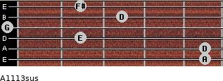 A11/13sus for guitar on frets 5, 5, 2, 0, 3, 2