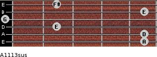 A11/13sus for guitar on frets 5, 5, 2, 0, 5, 2