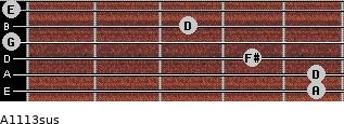 A11/13sus for guitar on frets 5, 5, 4, 0, 3, 0