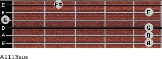 A11/13sus for guitar on frets 5, 5, 5, 0, 5, 2