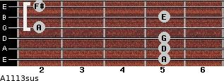 A11/13sus for guitar on frets 5, 5, 5, 2, 5, 2
