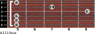 A11/13sus for guitar on frets 5, 5, 5, 9, 7, 5