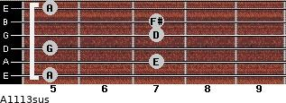 A11/13sus for guitar on frets 5, 7, 5, 7, 7, 5