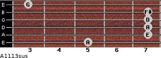 A11/13sus for guitar on frets 5, 7, 7, 7, 7, 3