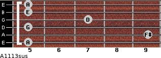 A11/13sus for guitar on frets 5, 9, 5, 7, 5, 5