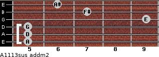 A11/13sus add(m2) for guitar on frets 5, 5, 5, 9, 7, 6