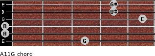 Aº11\G for guitar on frets 3, 0, 0, 5, 4, 4