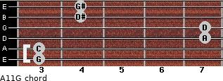 Aº11\G for guitar on frets 3, 3, 7, 7, 4, 4