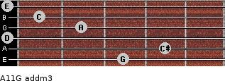 A11/G add(m3) for guitar on frets 3, 4, 0, 2, 1, 0