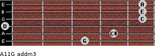 A11/G add(m3) for guitar on frets 3, 4, 0, 5, 5, 5