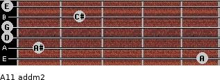 A11 add(m2) for guitar on frets 5, 1, 0, 0, 2, 0