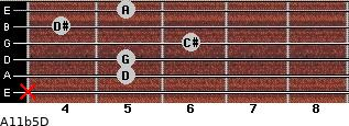 A11b5/D for guitar on frets x, 5, 5, 6, 4, 5