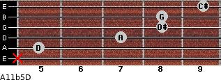 A11b5/D for guitar on frets x, 5, 7, 8, 8, 9