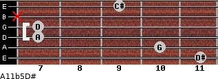 A11b5/D# for guitar on frets 11, 10, 7, 7, x, 9