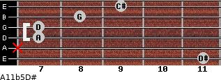 A11b5/D# for guitar on frets 11, x, 7, 7, 8, 9