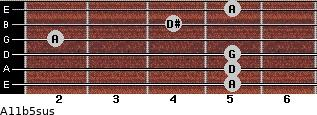 A11b5sus for guitar on frets 5, 5, 5, 2, 4, 5