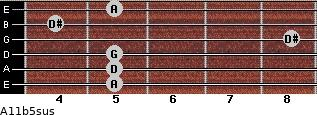A11b5sus for guitar on frets 5, 5, 5, 8, 4, 5