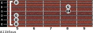 A11b5sus for guitar on frets 5, 5, 5, 8, 8, 5