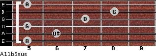 A11b5sus for guitar on frets 5, 6, 5, 7, 8, 5
