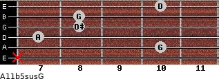 A11b5sus/G for guitar on frets x, 10, 7, 8, 8, 10