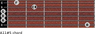 A11#5 for guitar on frets 5, 0, 0, 0, 2, 1