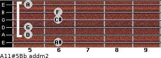 A11#5/Bb add(m2) guitar chord