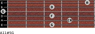 A11#5/G for guitar on frets 3, 4, 3, 0, 3, 5