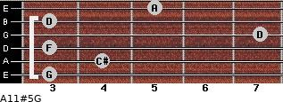 A11#5/G for guitar on frets 3, 4, 3, 7, 3, 5