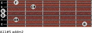 A11#5 add(m2) for guitar on frets 5, 1, 0, 0, 2, 1