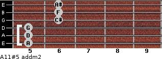 A11#5 add(m2) for guitar on frets 5, 5, 5, 6, 6, 6