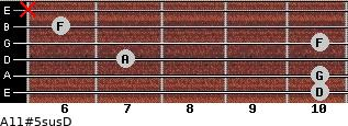 A11#5sus/D for guitar on frets 10, 10, 7, 10, 6, x