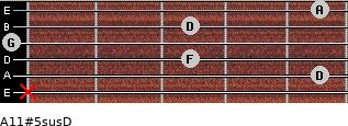 A11#5sus/D for guitar on frets x, 5, 3, 0, 3, 5