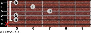 A11#5sus/D for guitar on frets x, 5, 5, 7, 6, 5
