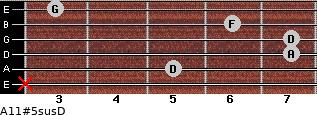 A11#5sus/D for guitar on frets x, 5, 7, 7, 6, 3