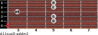 A11sus/D add(m2) guitar chord