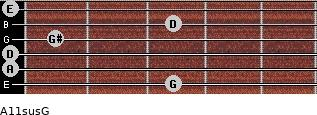 A11sus\G for guitar on frets 3, 0, 0, 1, 3, 0