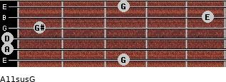 A11sus\G for guitar on frets 3, 0, 0, 1, 5, 3
