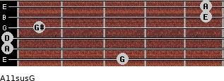 A11sus\G for guitar on frets 3, 0, 0, 1, 5, 5