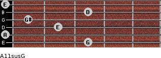 A11sus\G for guitar on frets 3, 0, 2, 1, 3, 0