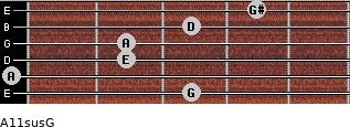 A11sus\G for guitar on frets 3, 0, 2, 2, 3, 4