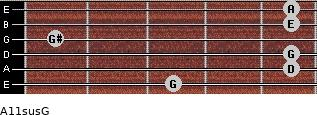 A11sus\G for guitar on frets 3, 5, 5, 1, 5, 5