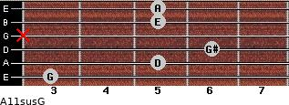 A11sus\G for guitar on frets 3, 5, 6, x, 5, 5