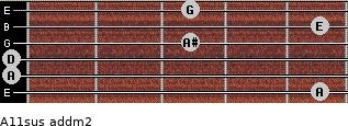 A11sus add(m2) for guitar on frets 5, 0, 0, 3, 5, 3