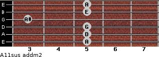 A11sus add(m2) for guitar on frets 5, 5, 5, 3, 5, 5