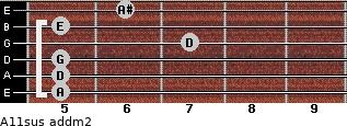 A11sus add(m2) for guitar on frets 5, 5, 5, 7, 5, 6