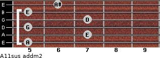 A11sus add(m2) for guitar on frets 5, 7, 5, 7, 5, 6