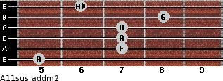 A11sus add(m2) for guitar on frets 5, 7, 7, 7, 8, 6